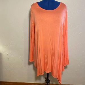 Cool Melon asymmetrical blouse, size 2X.